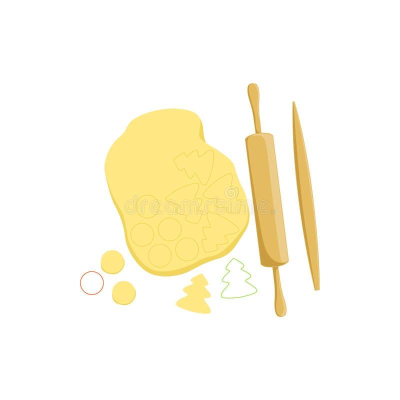 Deg och rullande Pin Baking Process Kitchen Equipment isolerat objekt royaltyfri illustrationer