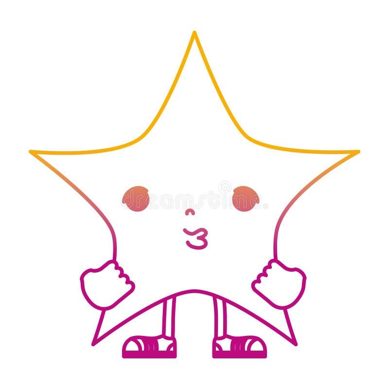 Degarded wykłada kawaii śliczną gwiazdę z rękami i nogami ilustracja wektor