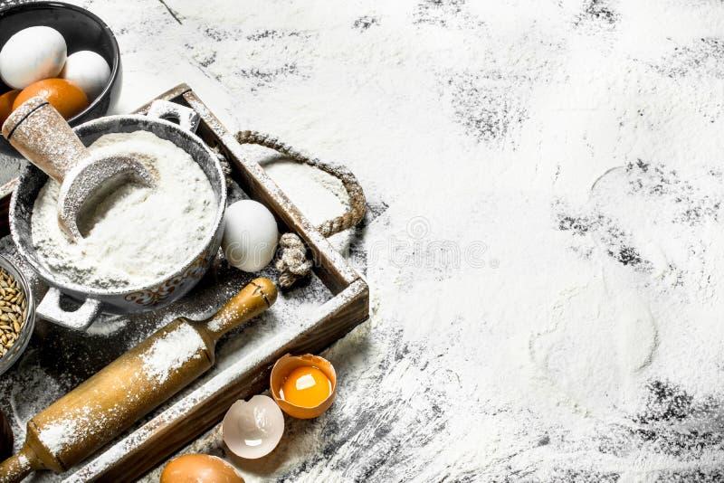Degbackround Mjöl med ägg och kavlen arkivfoto