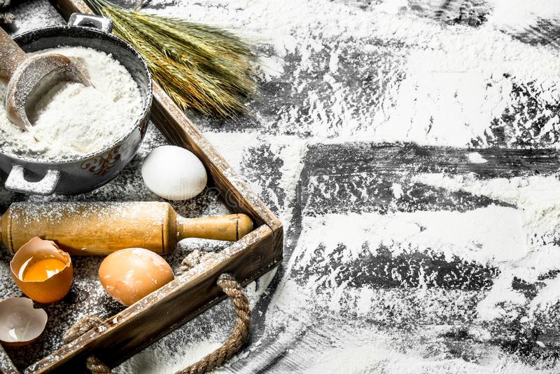 Degbackround Mjöl med ägg och kavlen arkivbild
