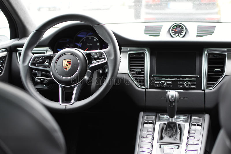 deggendorf germany 23 april 2016 interior of a 2016 porsche macan turbo suv during the. Black Bedroom Furniture Sets. Home Design Ideas
