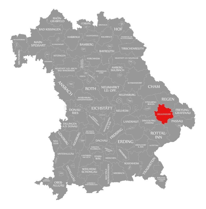 Deggendorf okręgu administracyjnego czerwień podkreślająca w mapie Bavaria Niemcy ilustracji