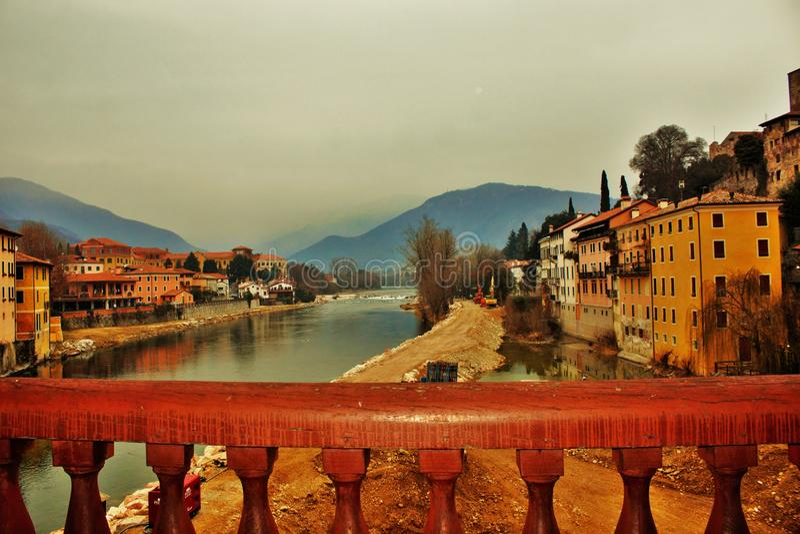 Degli Alpini Ponte Bassano del Grappa αυτήν την περίοδο που υποβάλλεται στις επισκευές λόγω μιας κατάρρευσης μετά από μια πλημμύρ στοκ φωτογραφία
