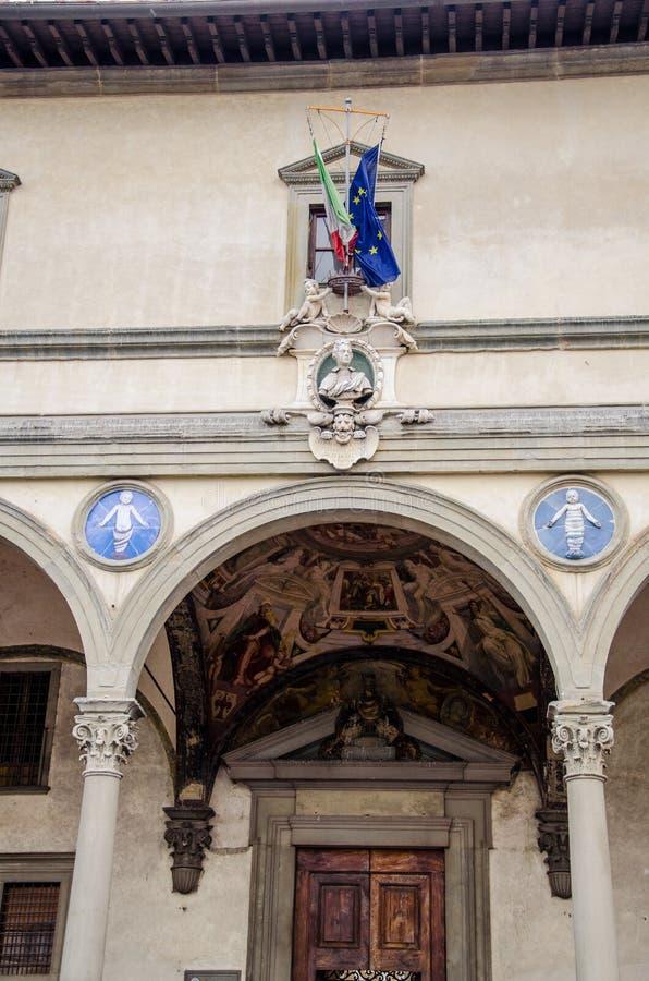 Degli Innocenti de Ospedale en Florencia imagen de archivo