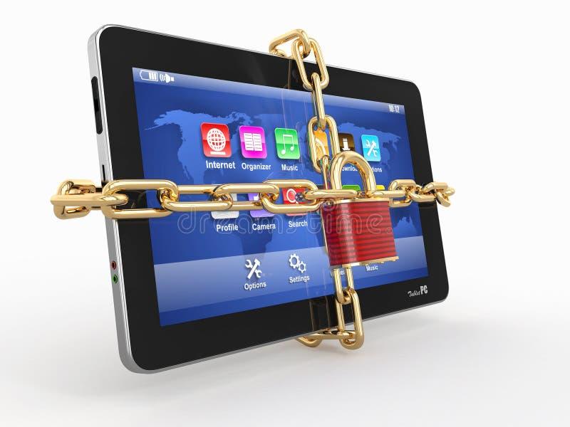 Degré de sécurité de PC de tablette. Réseau avec le blocage sur l'ordinateur. illustration stock
