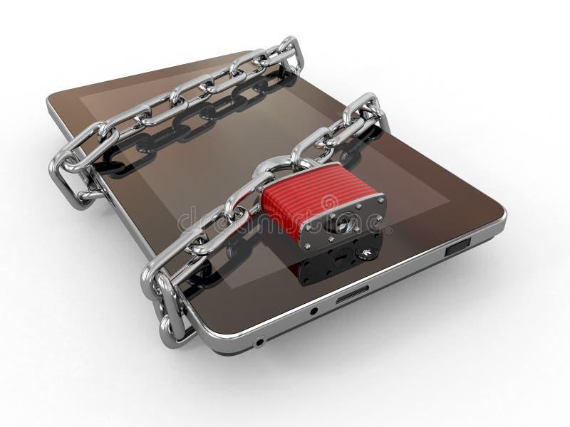 Degré de sécurité de PC de tablette. Réseau avec le blocage sur l'ordinateur. illustration libre de droits