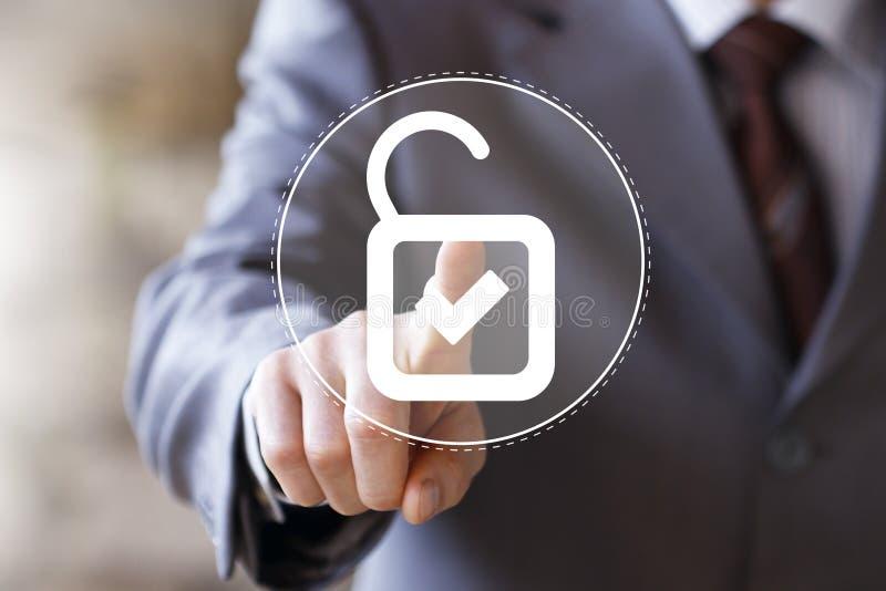 Degré de sécurité de serrure de bouton d'affaires virtuel images stock