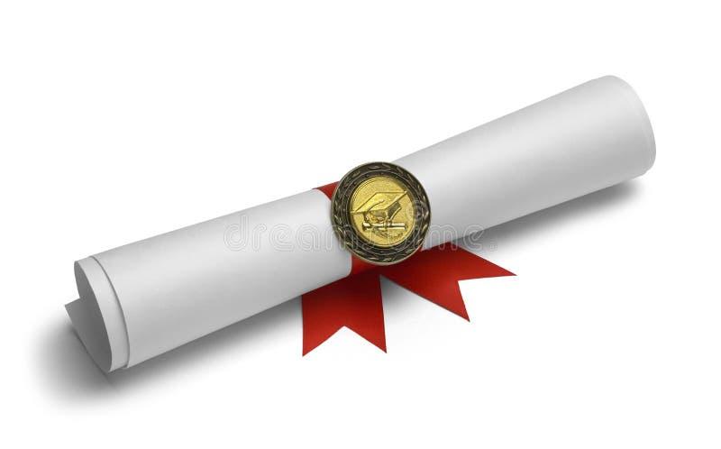 Degré et médaille de diplômé images libres de droits