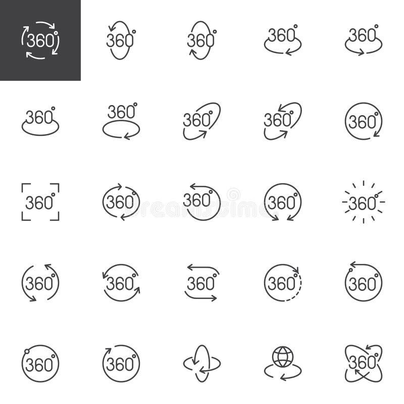 360 degrés d'ensemble d'ensemble d'icônes illustration de vecteur