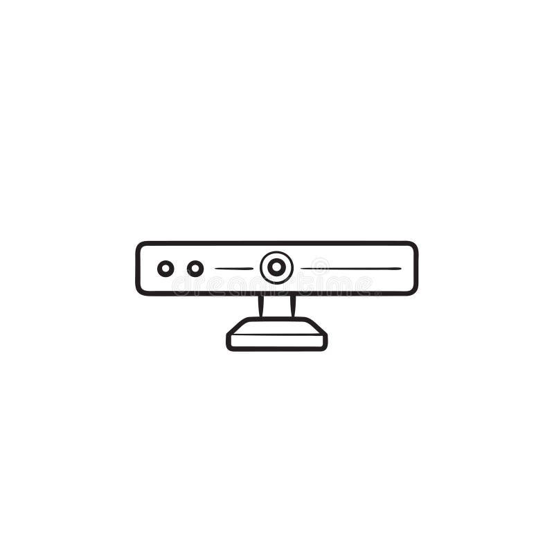 360 degrés de caméra d'ensemble d'icône tirée par la main de griffonnage illustration libre de droits