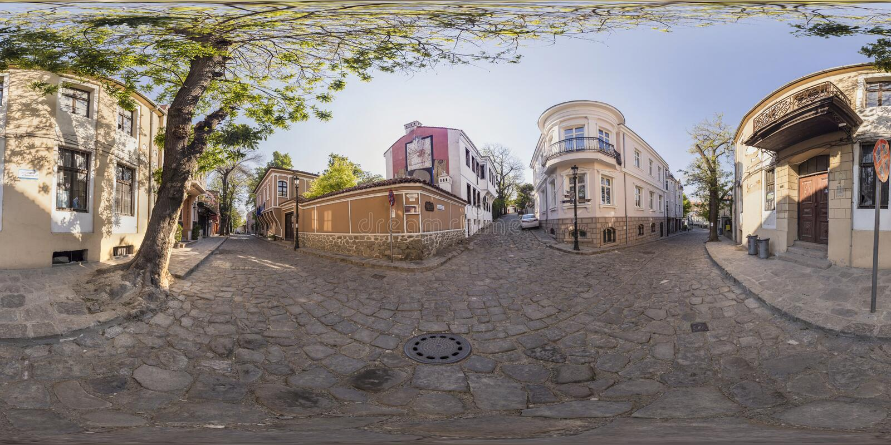 360 degrés de panorama d'Art Gallery La Boheme à Plovdiv, Bulga photo stock