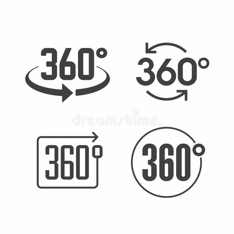 360 degrés de vue d'icône de signe illustration libre de droits