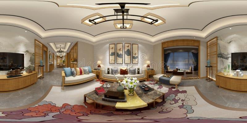 360 degrés intérieur à la maison illustration stock