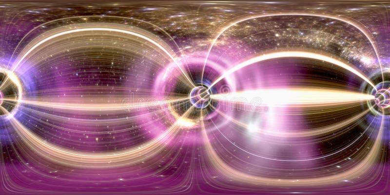 360 degrés sphériques, tunnel futuriste cosmique de trou de ver sans couture de panorama rendu 3d image stock