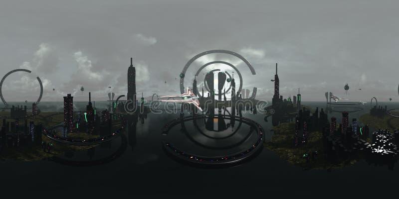 360 degrés sphériques, ville futuriste étrangère de panorama sans couture rendu 3d image stock