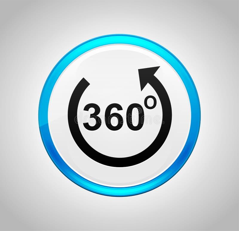 360 degrés tournent l'icône de flèche autour du bouton poussoir bleu illustration stock