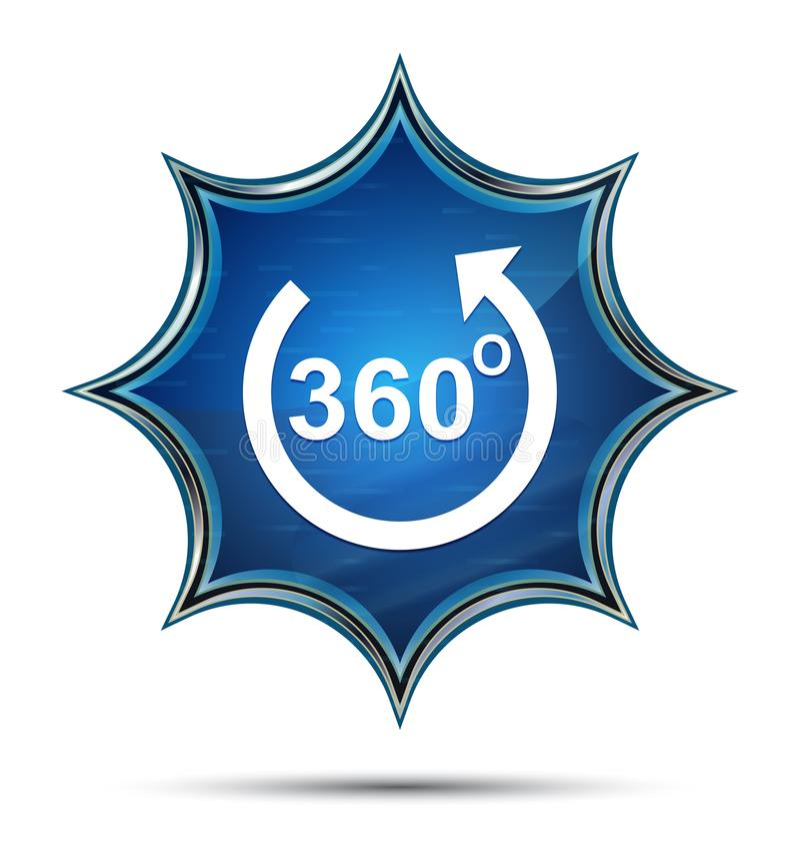 360 degrés tournent le bouton bleu de rayon de soleil vitreux magique d'icône de flèche illustration de vecteur
