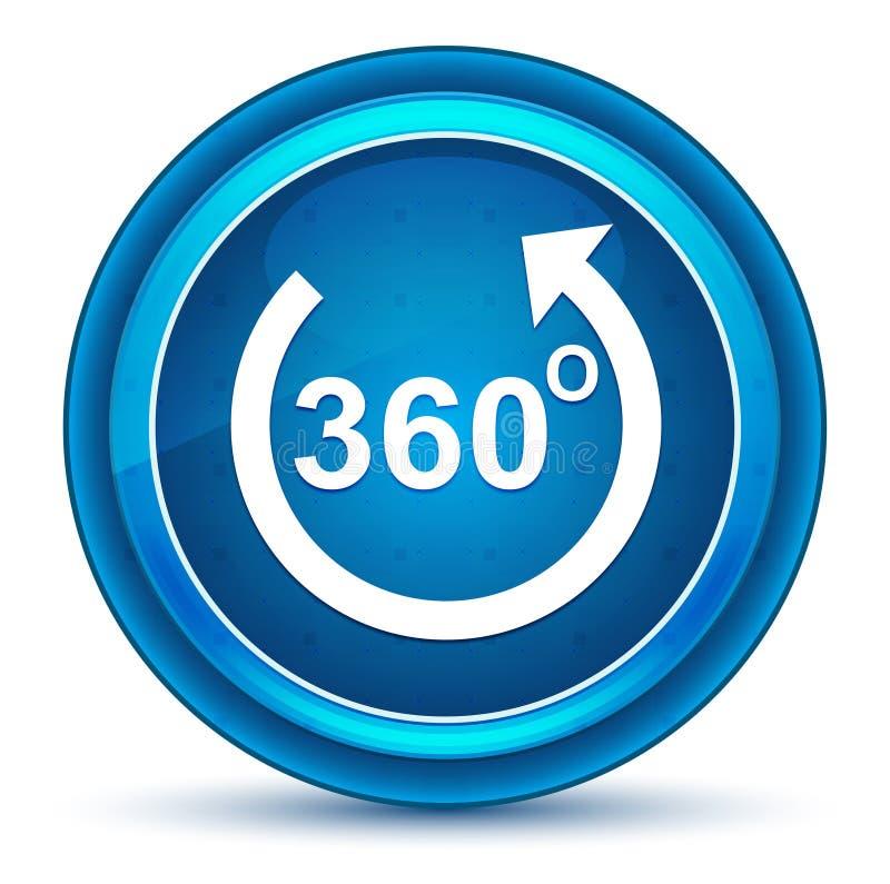 360 degrés tournent le bouton rond bleu de globe oculaire d'icône de flèche illustration stock
