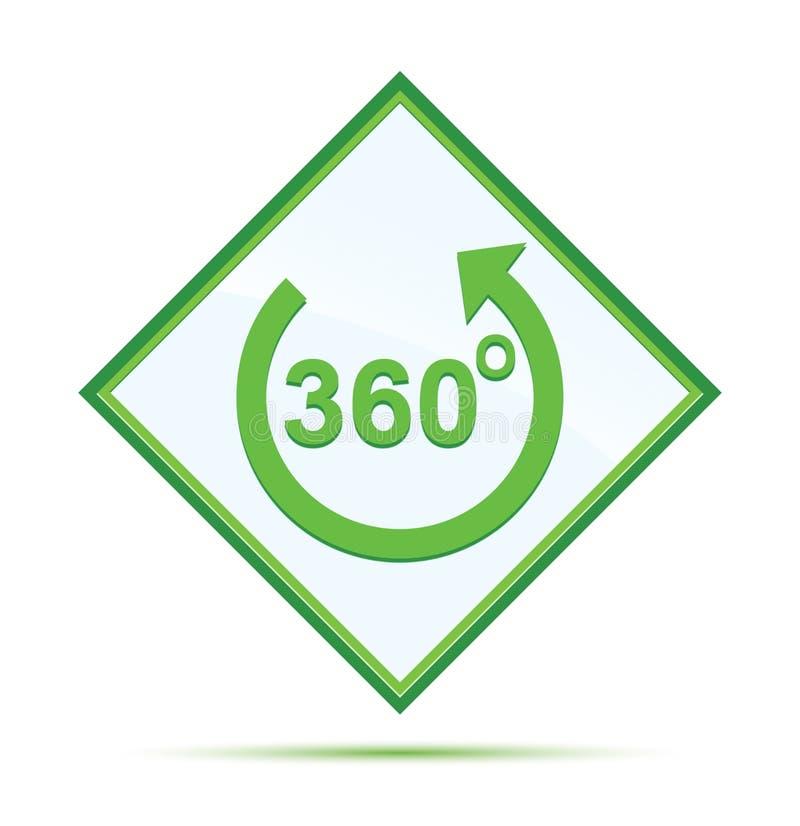360 degrés tournent le bouton vert abstrait moderne de diamant d'icône de flèche illustration libre de droits