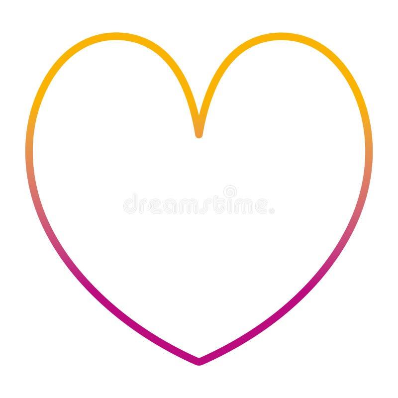 Degraded line beauty heart romance symbol style. Vector illustration royalty free illustration