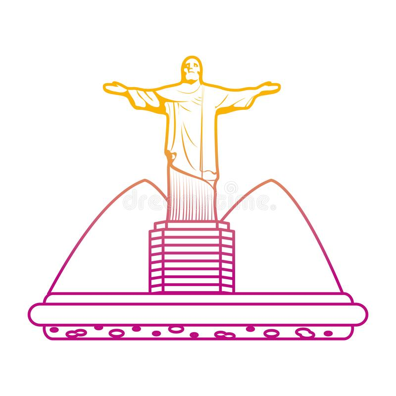 Degraded line cristo religion statue with mountains landscape. Vector illustration vector illustration