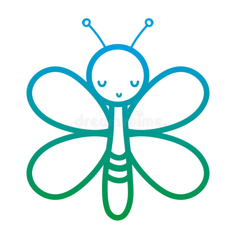 Degraded line cute butterfly insect animal with wings. Vector illustration royalty free illustration