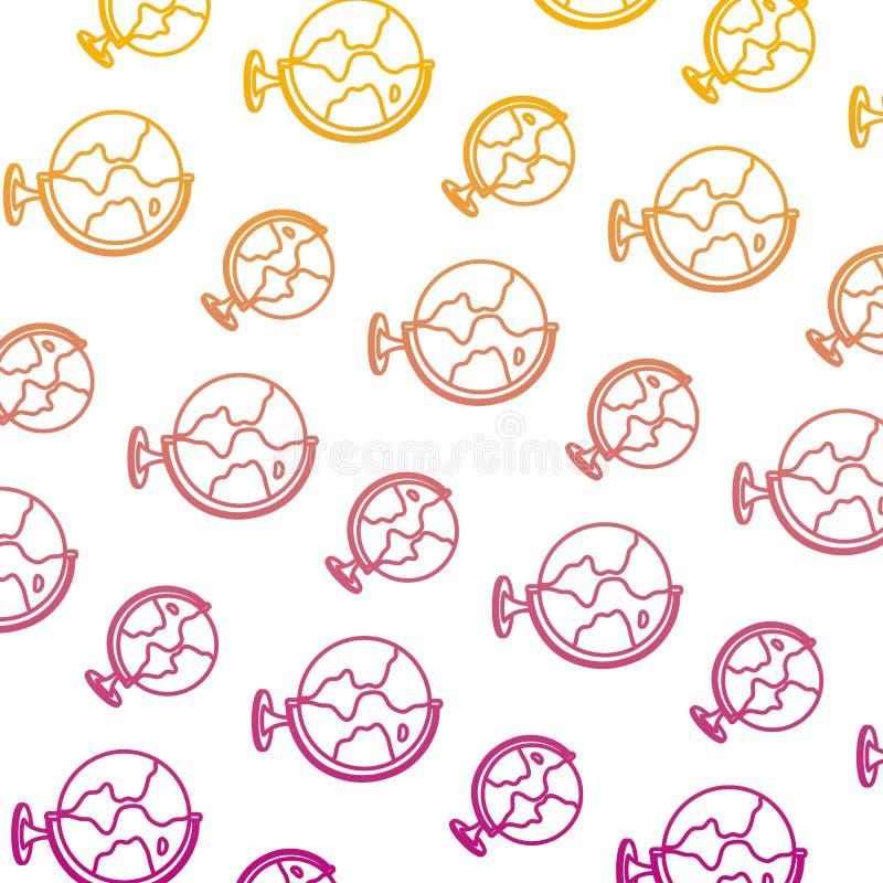 Degraded line earth planet map desk background stock illustration
