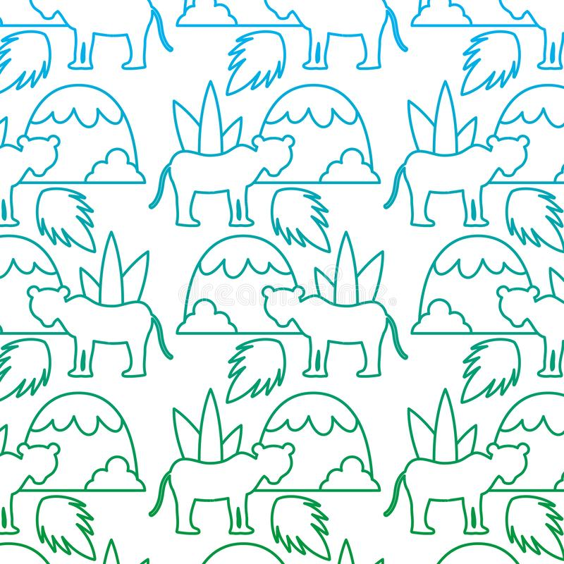 Degraded line lion with plant leaves and mountains background royalty free illustration
