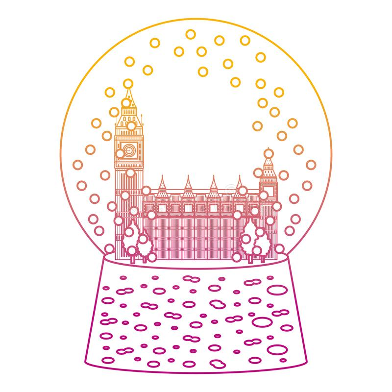 Degraded line london clock tower inside snow glass stock illustration