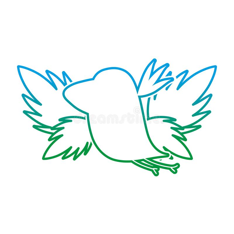 Degraded line silhouette bird with exotic leaves reserve vector illustration