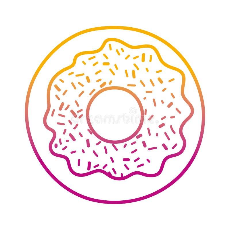 Degraderad linje söt mat för munkefterrättbakelse vektor illustrationer