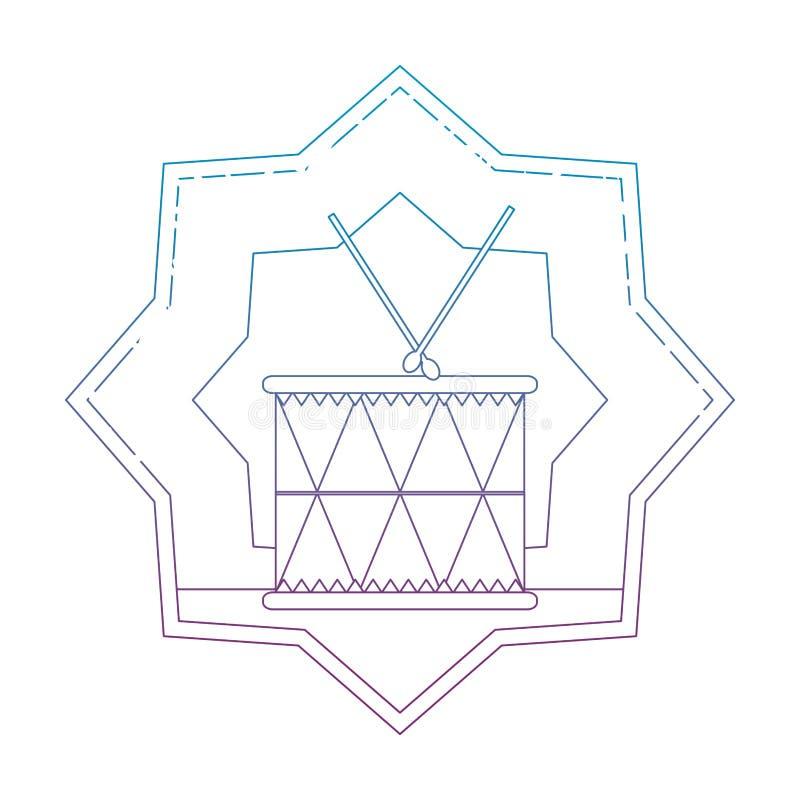 Degraderad linje trä att trumma musikaliskt objekt inom stjärnan royaltyfri illustrationer