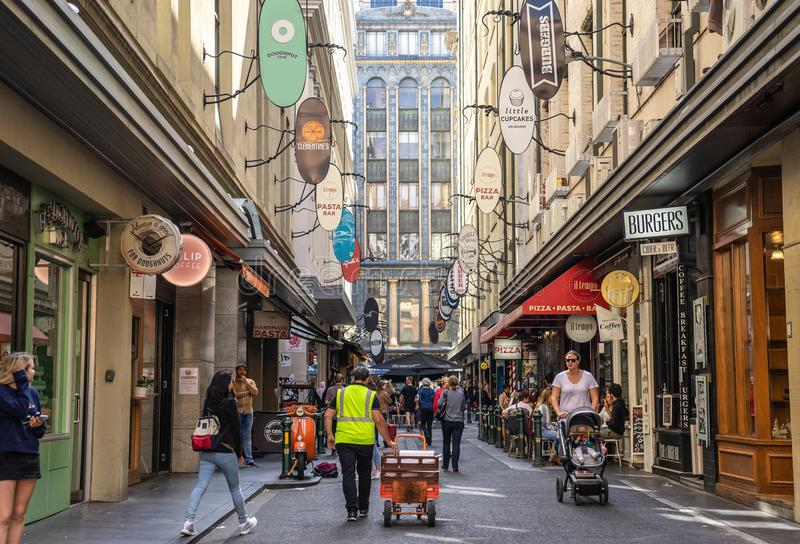 Degraves Street is a popular cafe and retail laneway between Flinders Street and Flinders Lane royalty free stock photo