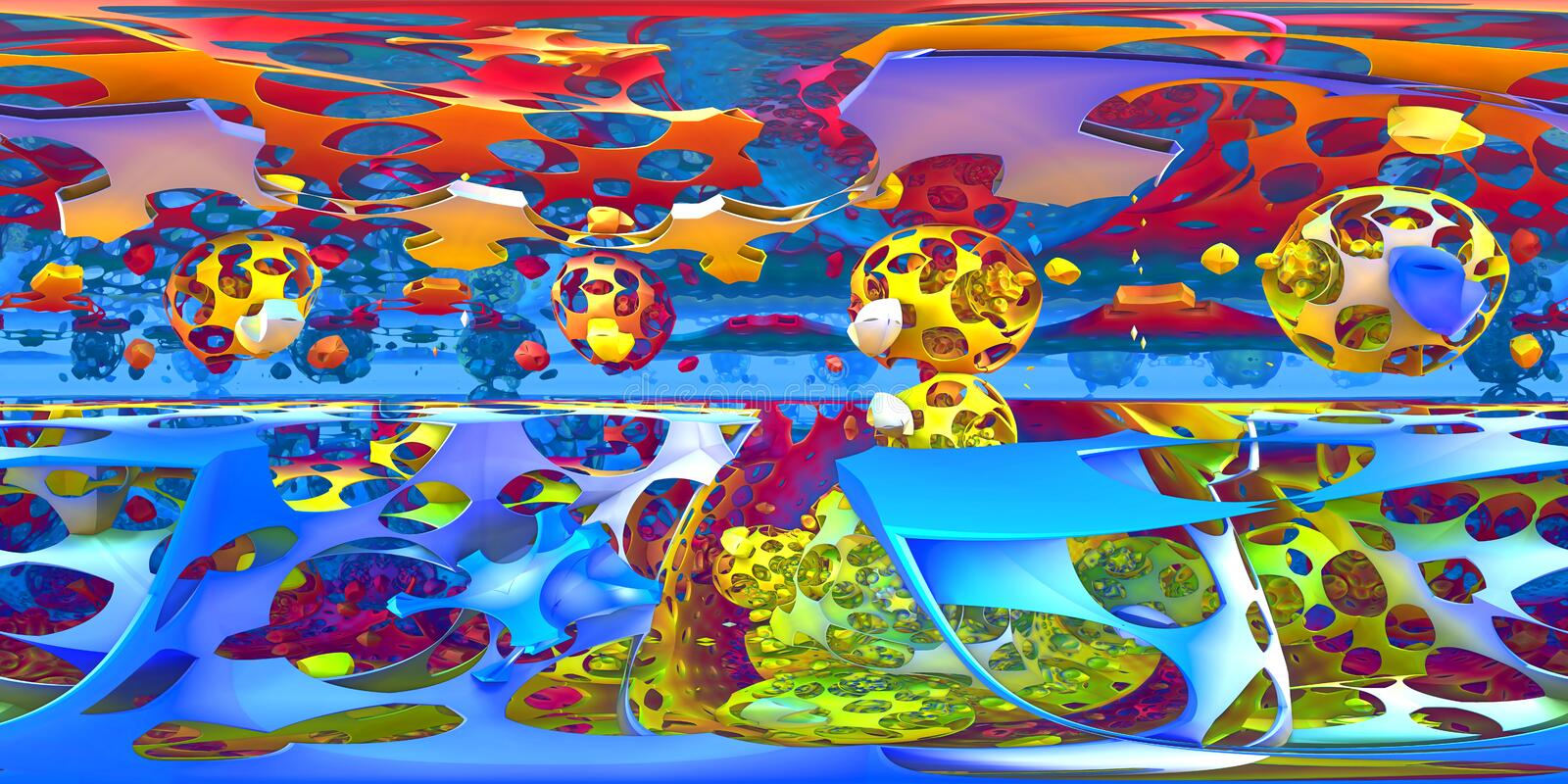 360 degree abstract, shape chaos panorama, equirectangular projection, environment map. HDRI spherical panorama. stock illustration