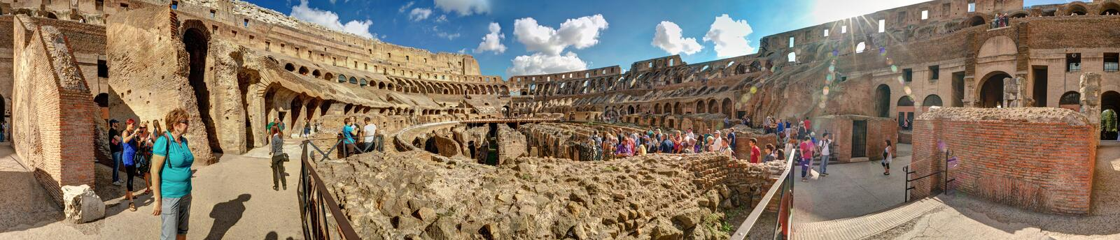 360 degree circular panorama inside the Colosseum or Coliseum in royalty free stock photos