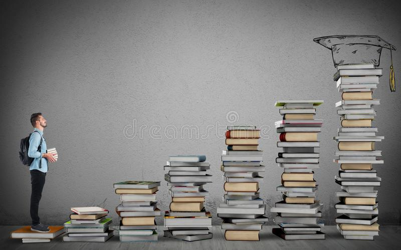 Degree course. Student climbing a ladder of study books stock illustration