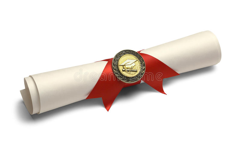 Degree with Diploma Medal. stock photos