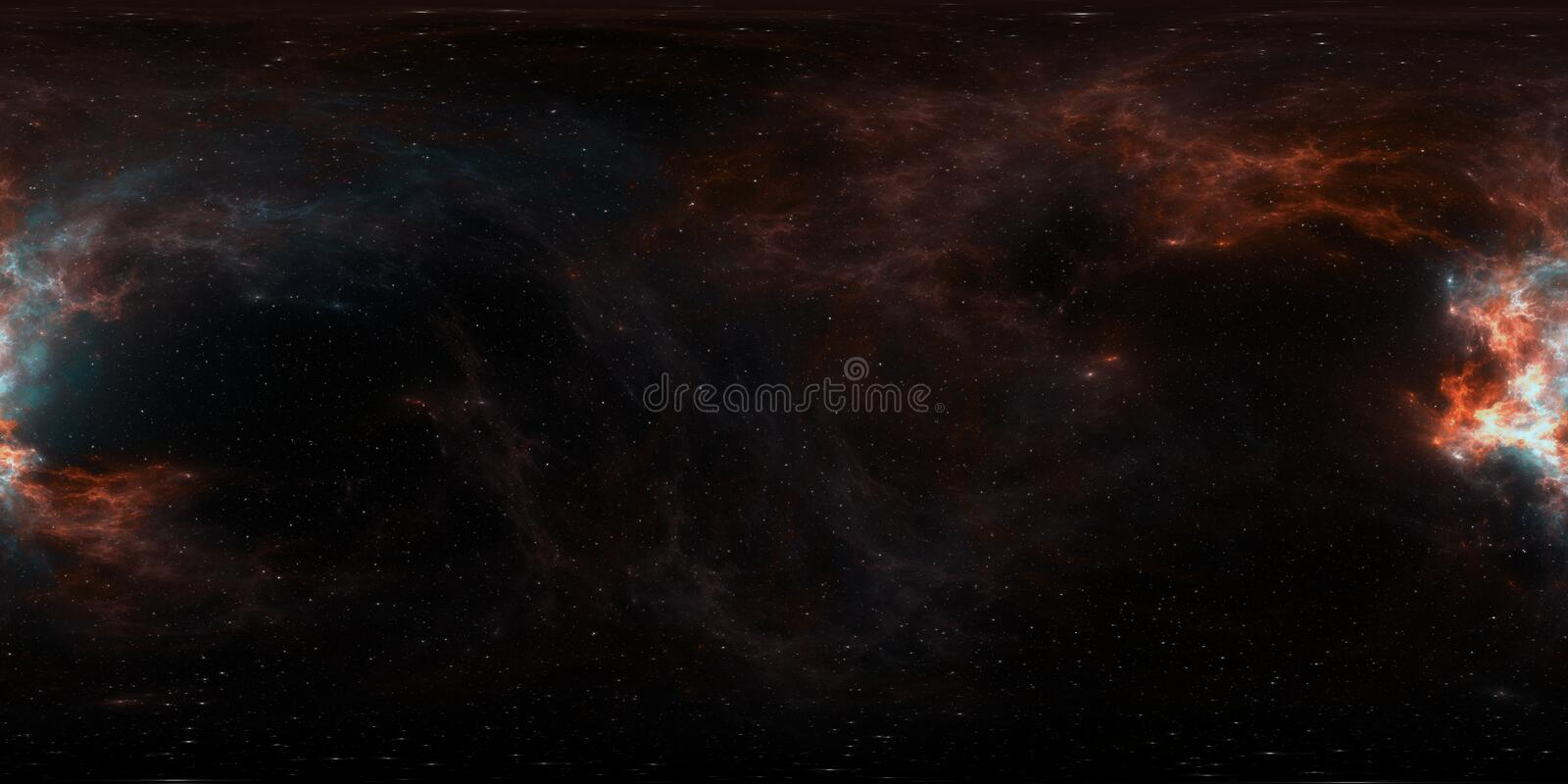 360 degree giant nebula after a supernova explosion, equirectangular projection, environment map. HDRI spherical panorama royalty free stock images