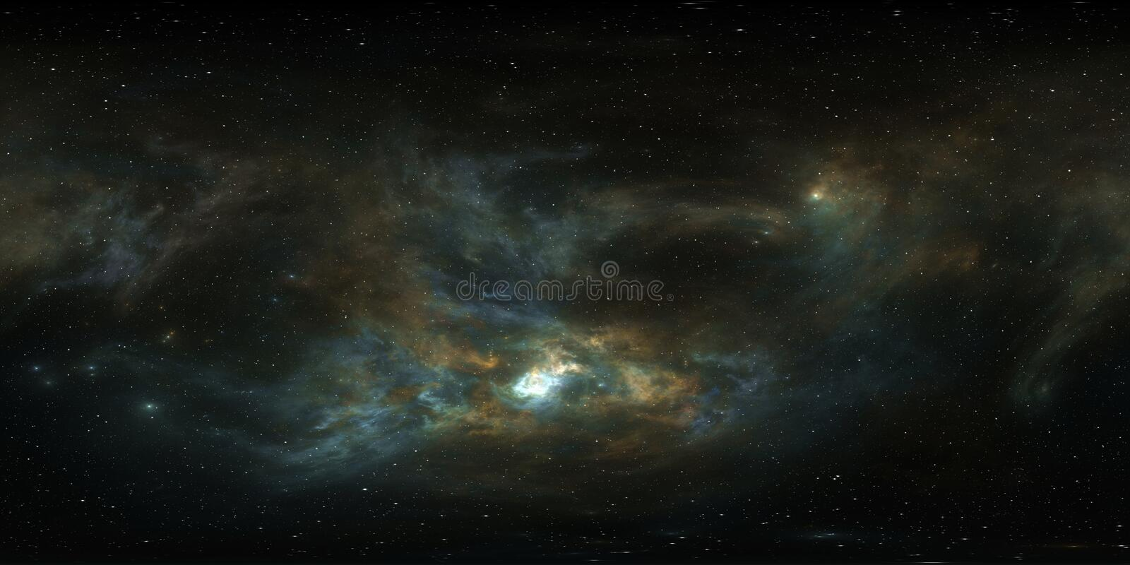 360 degree giant nebula after a supernova explosion, equirectangular projection, environment map. HDRI spherical panorama stock photography