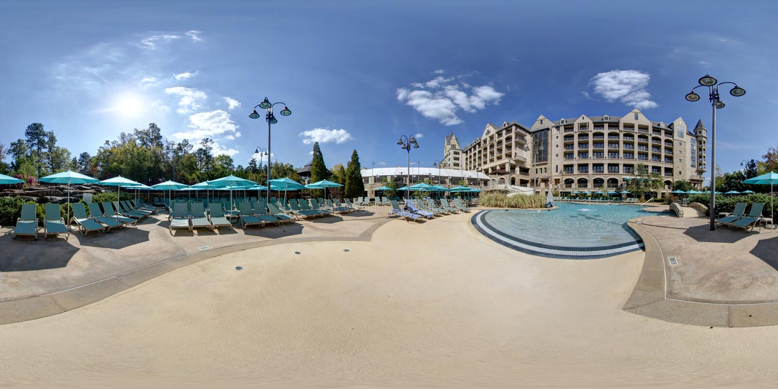 Download 360 Degree Hotel And Swimming Pool Stock Image
