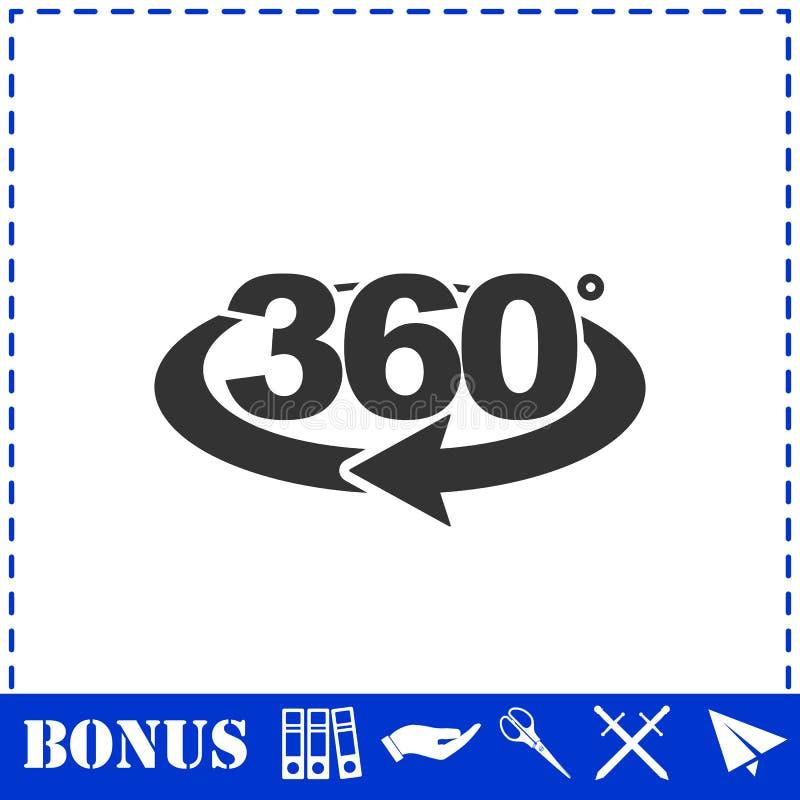 360 degree icon flat stock illustration