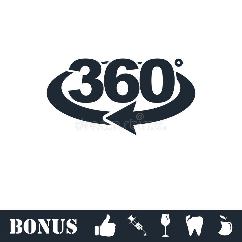 360 degree icon flat royalty free illustration