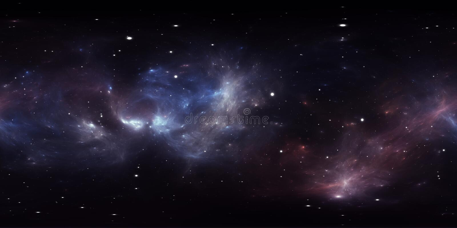 360 degree interstellar cloud of dust and gas. Space background with nebula and stars. Glowing nebula, equirectangular projection, vector illustration