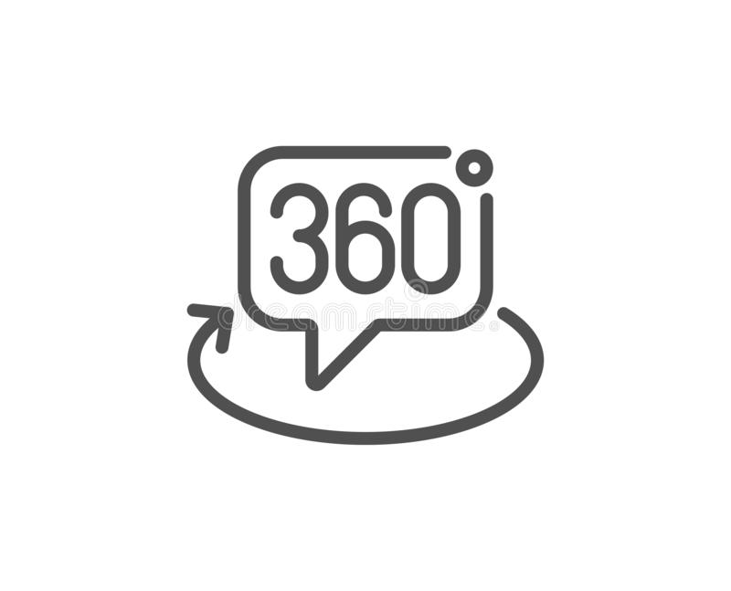 360 degree line icon. VR technology simulation sign. Panoramic view. Vector vector illustration
