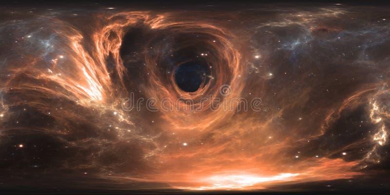 360 degree massive black hole panorama, equirectangular projection, environment map. HDRI spherical panorama royalty free illustration