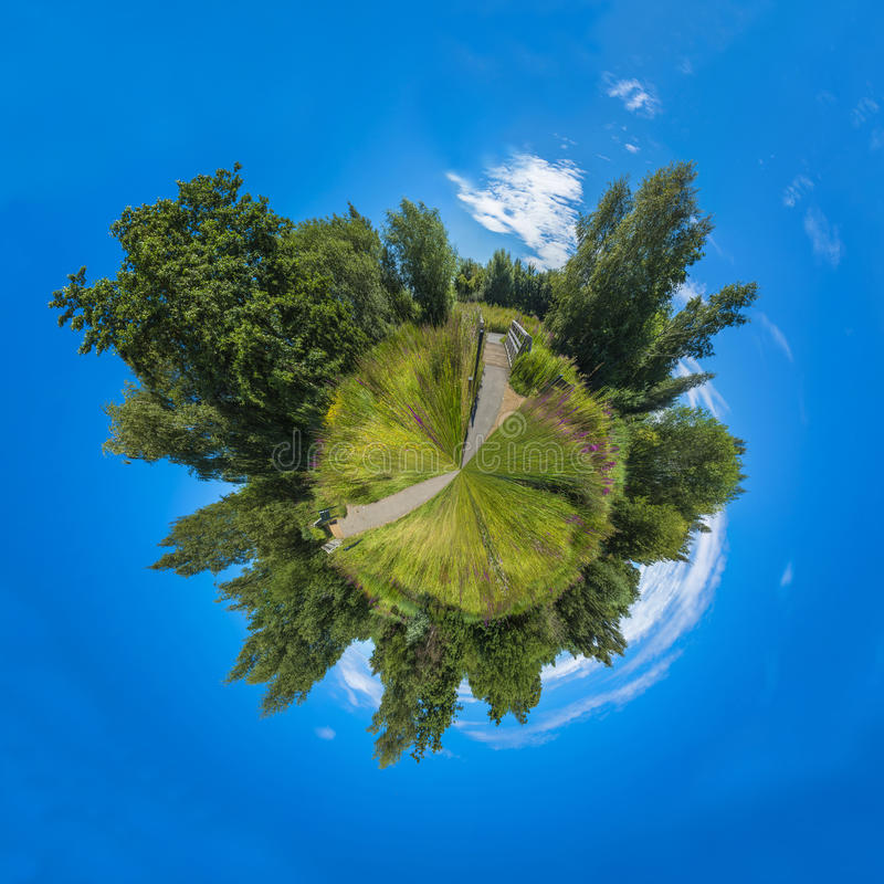 Download 360 Degree Panorama Of London Wetlands Center Nature Reserve Stock Image