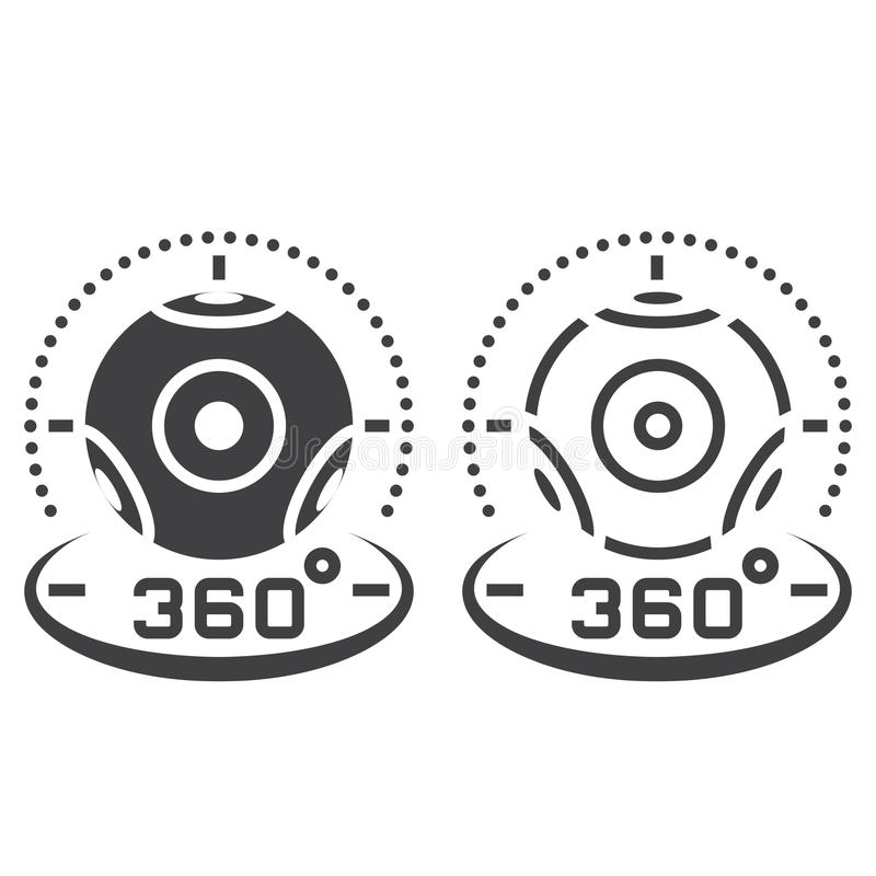 360 degree panoramic video camera line icon, outline and solid v vector illustration
