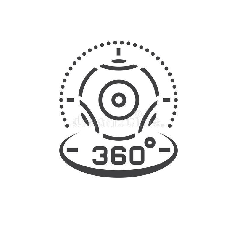 360 degree panoramic video camera line icon, virtual reality device outline vector logo illustration, linear pictogram isolated o royalty free illustration