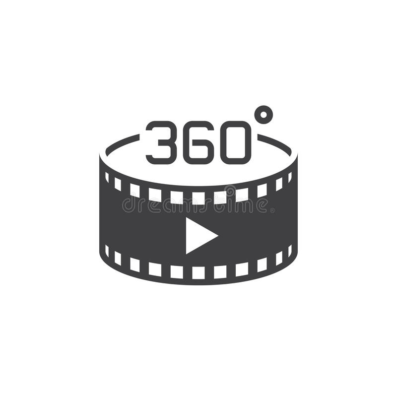 360 degree panoramic video sign. vector icon, solid logo illustration, pictogram isolated on white stock illustration