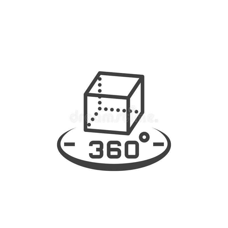 360 degree rotation sign. 3d cube symbol. line icon, outline vector logo illustration, linear pictogram isolated on white royalty free illustration